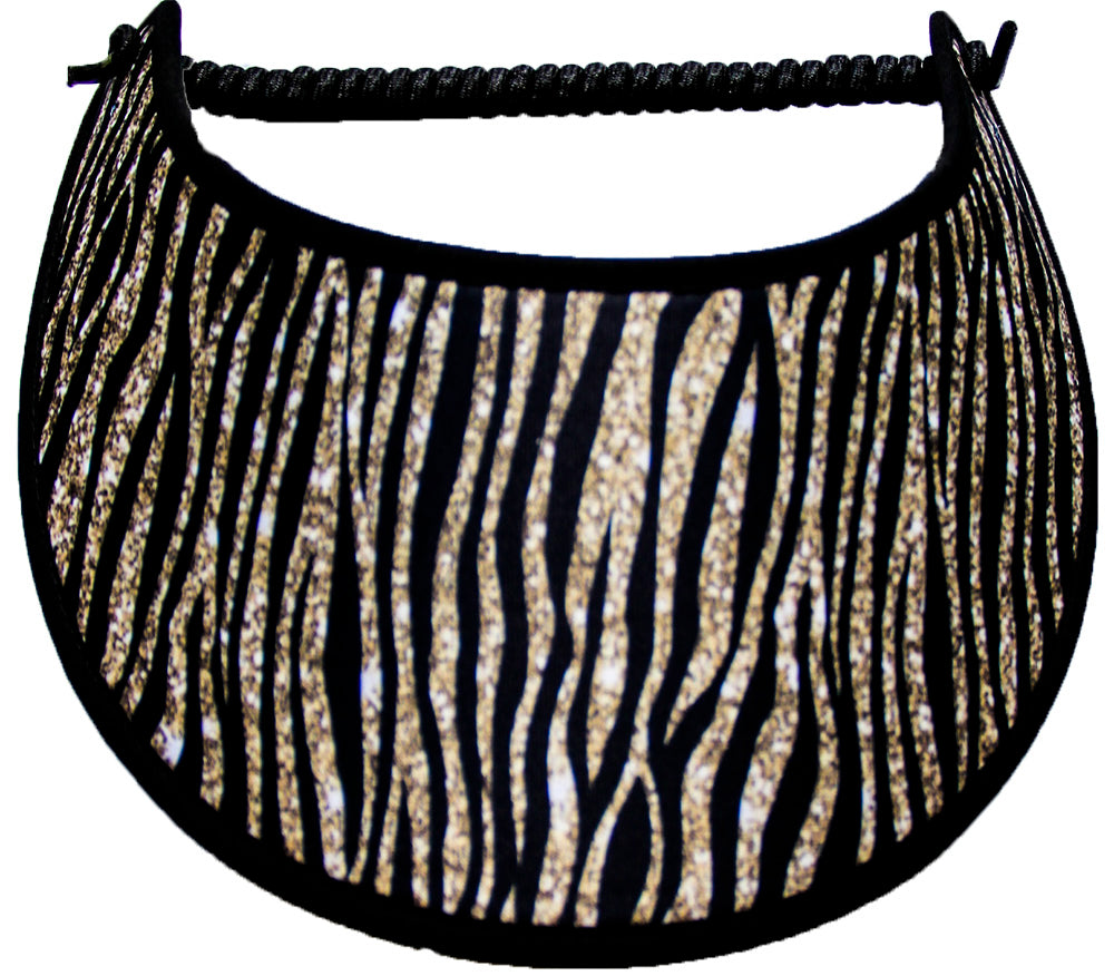 FOAM SUN VISOR WITH ZEBRA DESIGN IN GOLD COLOR