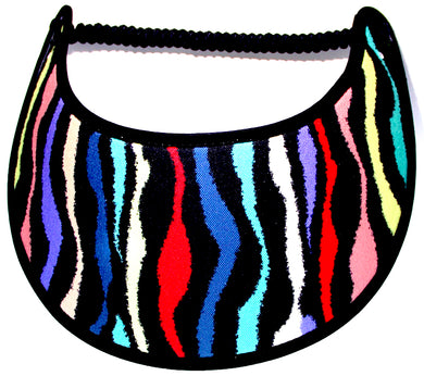 Foam sun visor multicolors on zebra design