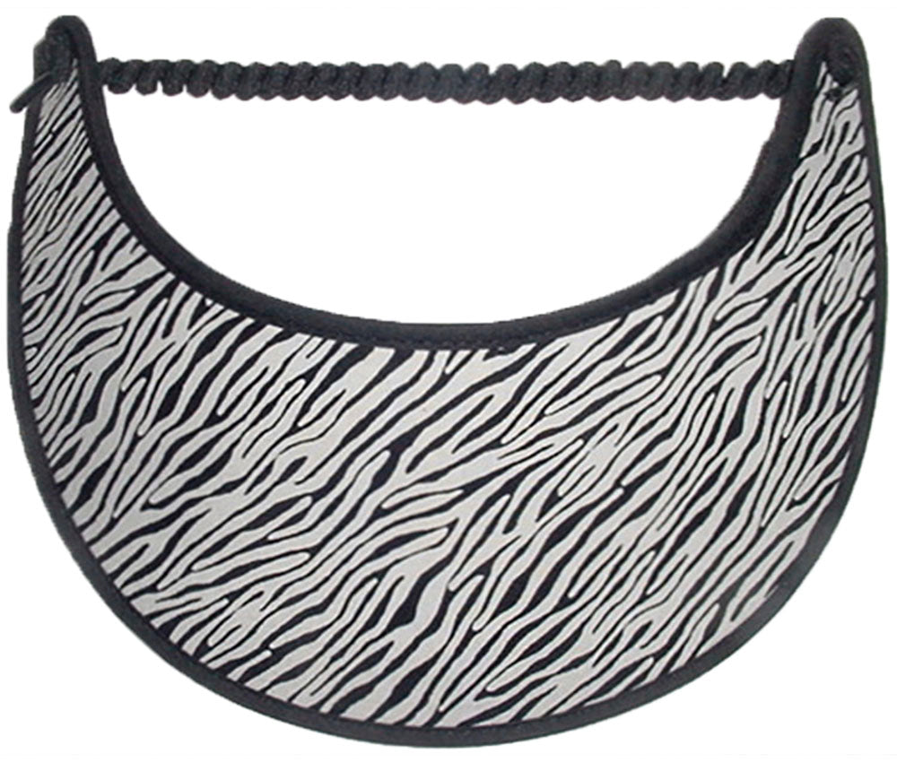 Foam sun visor with small zebra stripes