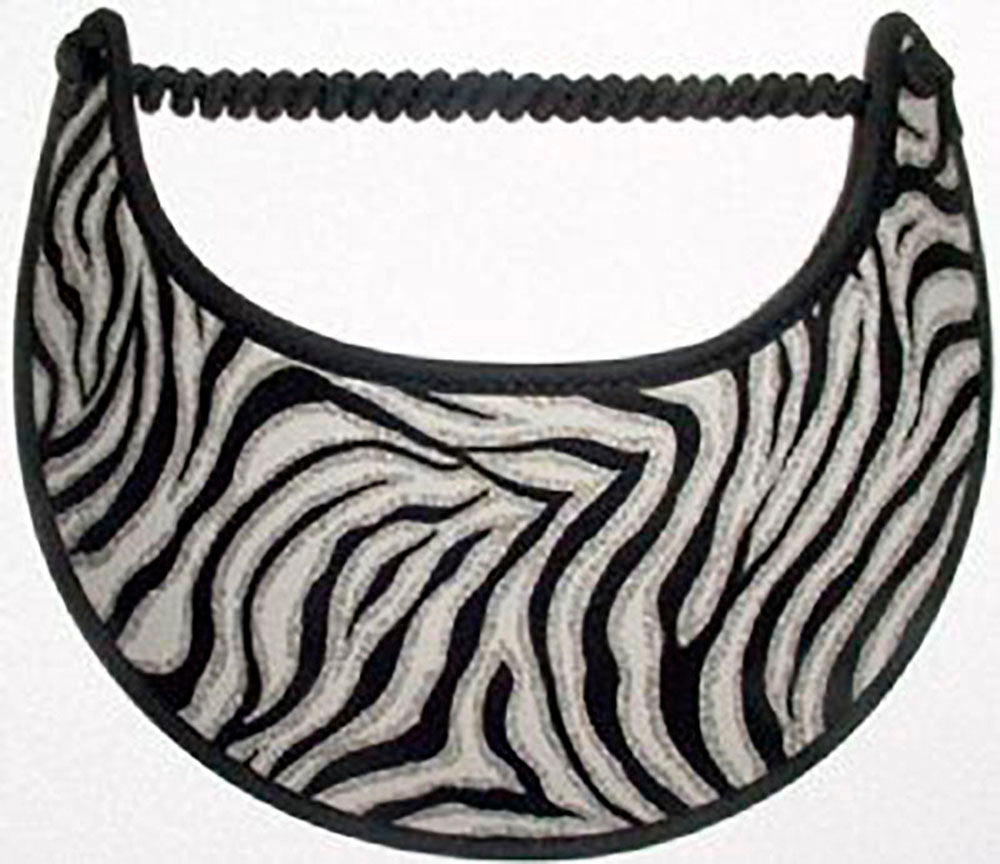 Foam sun visor gray, black and white zebra stripes