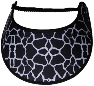Foam sun visor with black and white giraffe print.