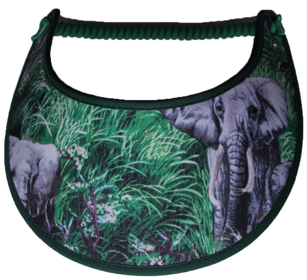Foam sun visors with elephants in tall grass.