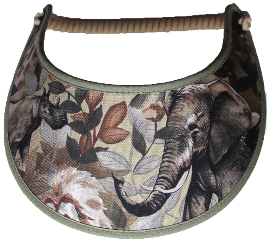 Foam sun visor with elephant and rhino.