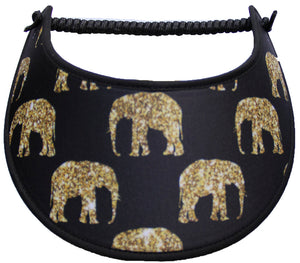 GOLD COLORED ELEPHANTS ON BLACK