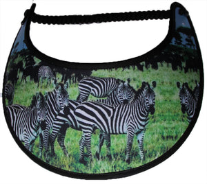 Foam sun visors with grazing zebras.