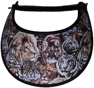 Foam sun visor with lions and tigers.
