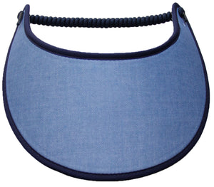 Ladies sun visor in light blue with dark blue trim