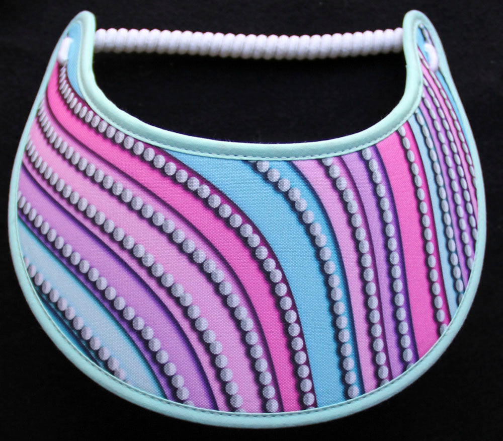 Foam sun visor with pearl design on pastel color
