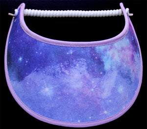 Foam sun visor in shades of blues and lavenders trimmed in lavender
