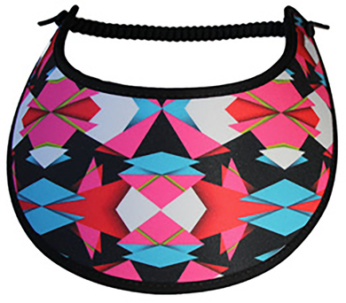 M086 ABSTRACT PINK, BLUE, WHITE & BLACK TRIMMED IN BLACK