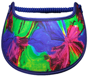Foam sun visor in lime, royal blue & hot pink
