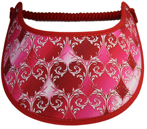 Foam sun visor in shades of red & pink trimmed in red