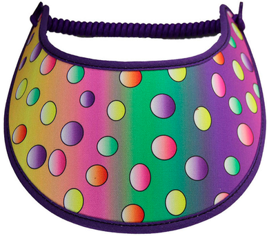 Foam sun visor with multicolored dots on gradient background