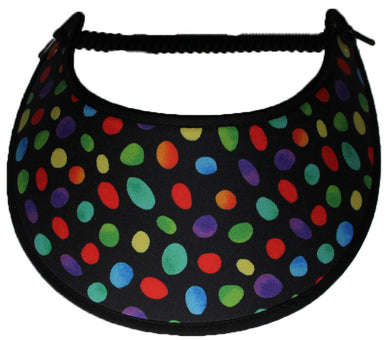 Foam sun visor multicolored ovals and dots on black background.