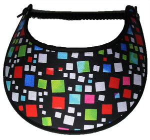 Foam sun visor with multicolored squares on black background.