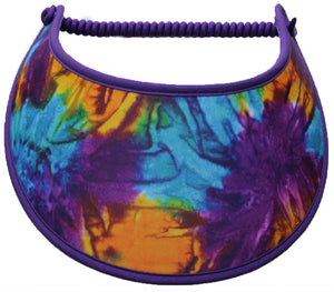 Foam sun visor in aqua, purple, & yellow