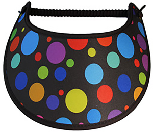 Foam sun visor with multicolored dots in various sizes