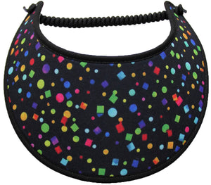 Foam sun visor with assorted shapes of color 0n black