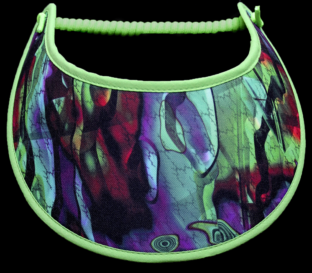 Foam sun visor with shades of green & purple