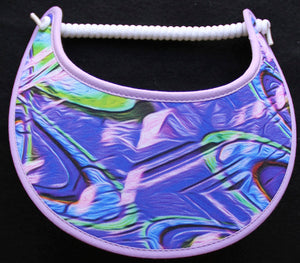 Foam sun visor with abstract design in blue & lavender