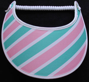 Foam sun visor with pastel stripes.