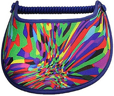 Ladies foam sun visor with burst of bright colors.