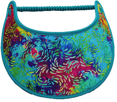 Foam sun visor with various shades of teal and other bright colors