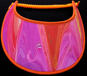 Foam sun visor in shades of orange & lavender