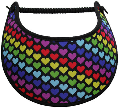 Foam sun visor with multicolored hearts on a black background.