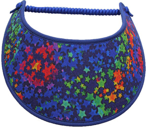Foam sun visor with multicolored stars on blue.