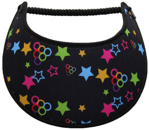 Foam sun visor with multicolored stars and circles