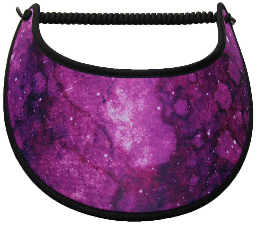 Foam sun visor in shades of magenta trimmed in black