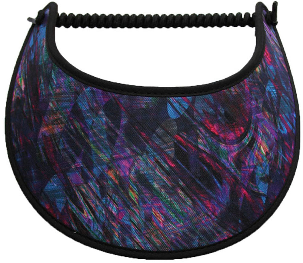 Foam sun visor with a purple, blue and black abstract design.