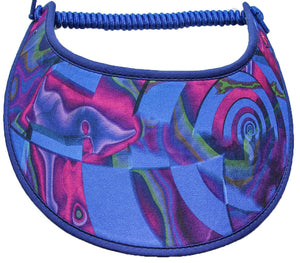 Foam sun visor with abstract design in shades of purple on royal blue