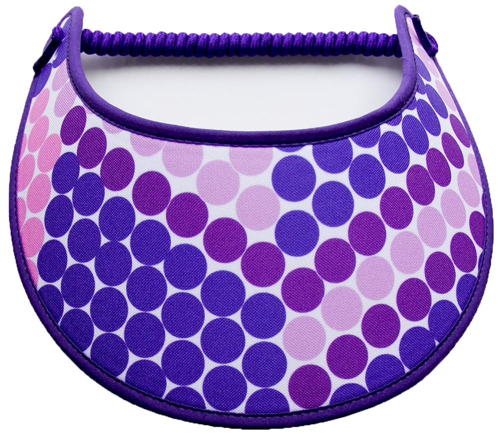 Foam sun visor in shades of purple dots
