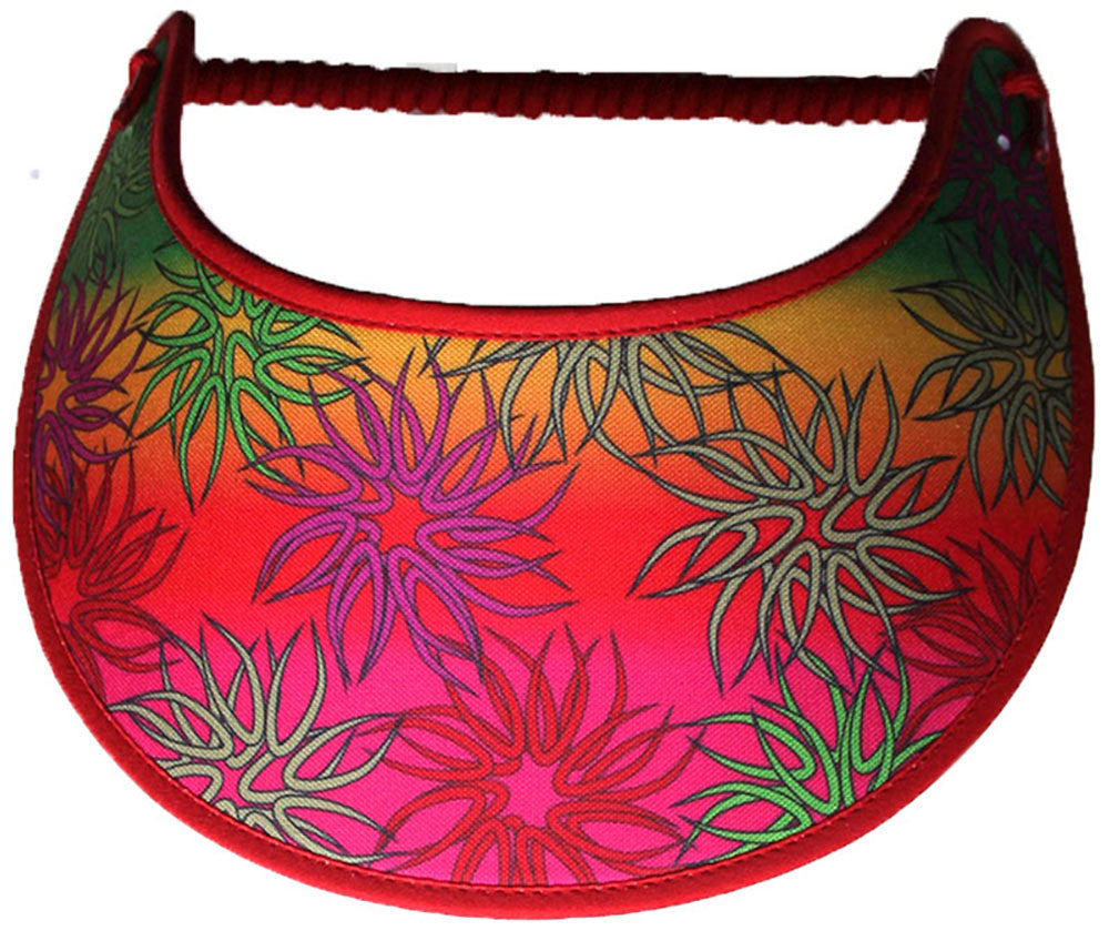 Foam sun visor with gradient colors of lime, gold, red & hot pink.