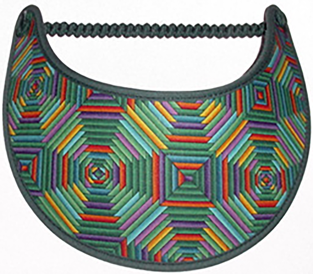Foam sun visor with geometrics red, green & yellow