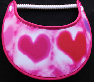 Foam sun visor with pink & red hearts