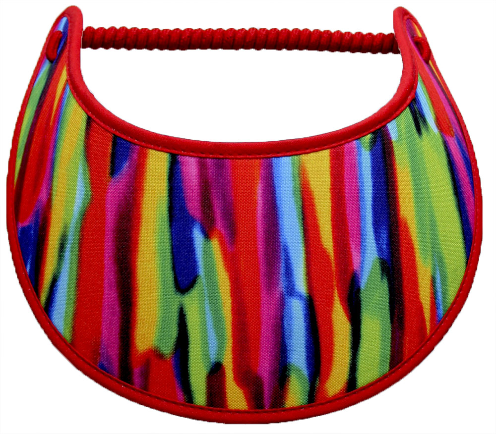 Foam sun visor with bright colors of red, blue, yellow and lime green: