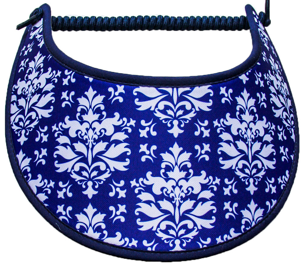 Foam sun visor with white damask design on roya