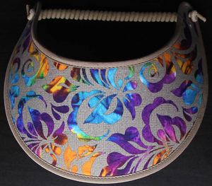 Foam sun visor with multicolored damask on tan trimmed in khaki