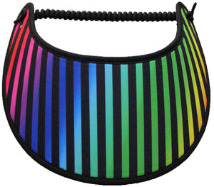 Foam sun visor with black stripes on gradient background