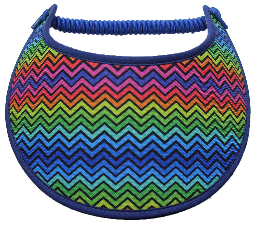 Ladies sun visor with brightly colored chevron design