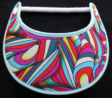 Foam sun visor with colorful abstract design