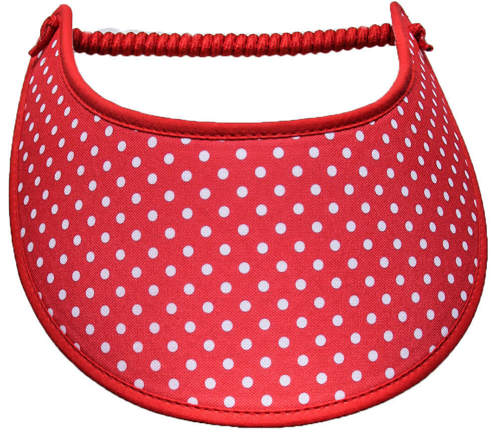 Foam sun visor in red with small white dots