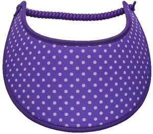 Foam sun visor with small white dots on purple