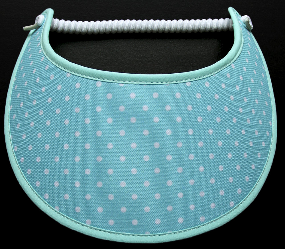 Foam sun visor with small white dots on aqua