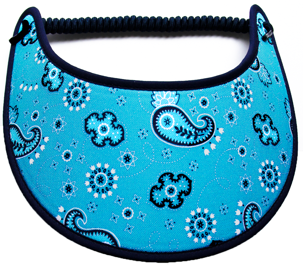 Foam sun visor with navy paisleys on aqua