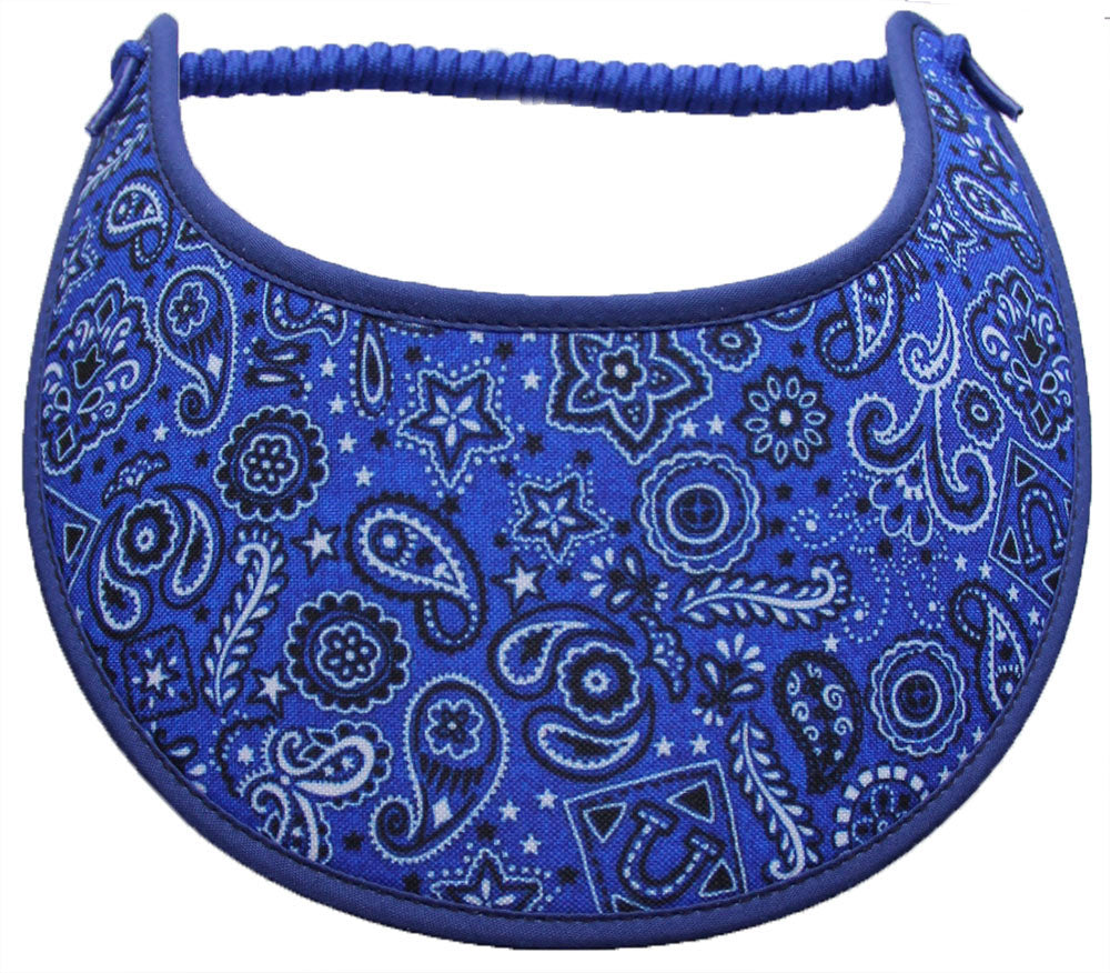 Foam sun visor with paisleys and other designs on blue