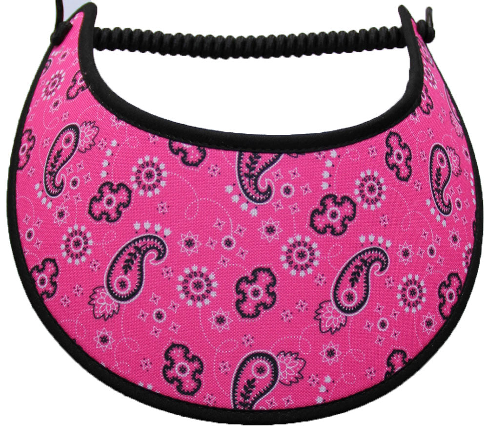 Foam sun visor with small paisley designs on pink